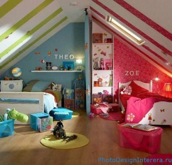 Дизайн интерьера детской комнаты на чердаке фото