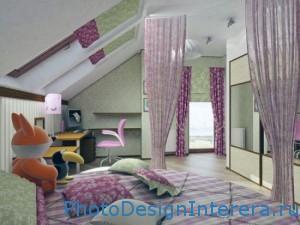 Дизайн детской комнаты на чердаке фото