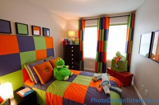 Дизайн интерьера детской яркой комнаты фото