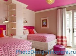 Дизайн интерьера розовой детской комнаты фото