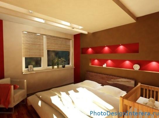 Дизайн интерьера красной спальни фотографии