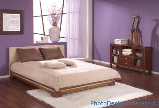 Дизайн фиолетовой спальни фото