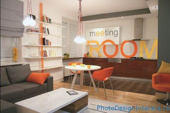 Дизайн яркой кухни фото