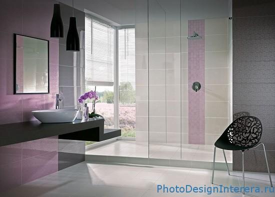 Фиолетовый дизайн ванной комнаты с душевой кабиной для девушки фото