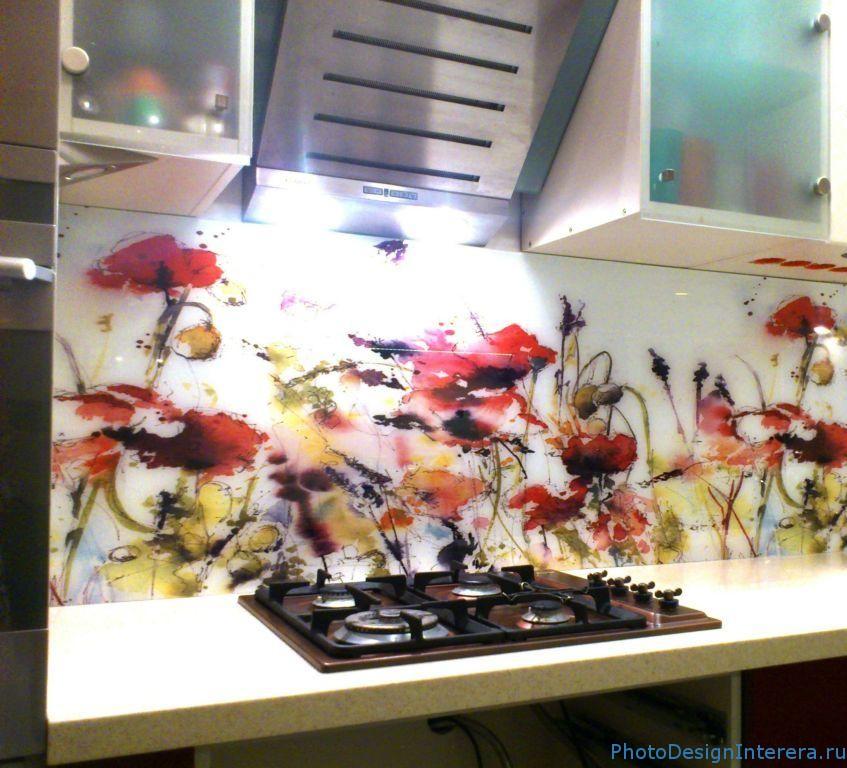 Красивые фартуки для кухни из фото стекла