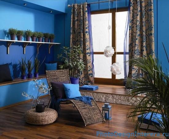Гостиная комната в голубом цвете фото
