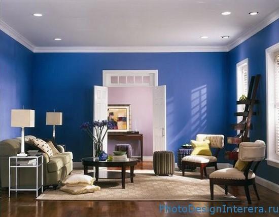 Комната для гостей в голубом цвете фото