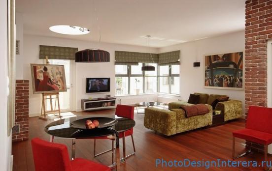 Дизайн интерьера гостиной в красном цвете фото