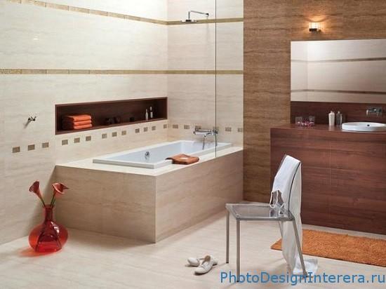 Керамическая плитка в ванной комнате фото