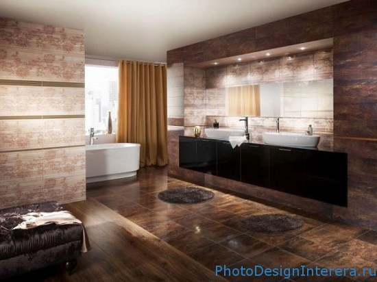 Фарфоровая плитка в ванной комнате фото