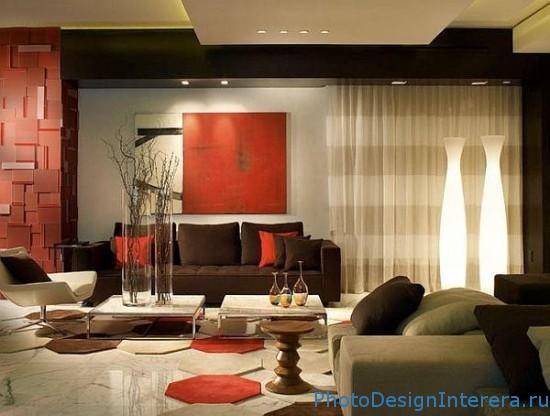 Красный дизайн интерьера гостиной фото