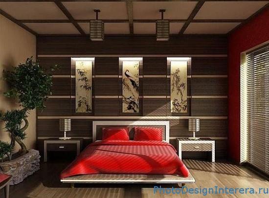 Красный дизайн интерьера спальни фото