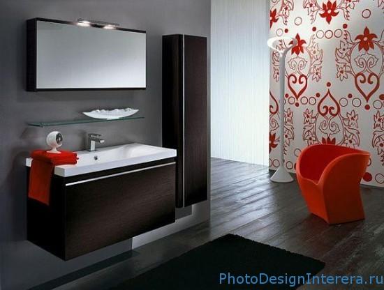 Красный дизайн интерьера ванной фото