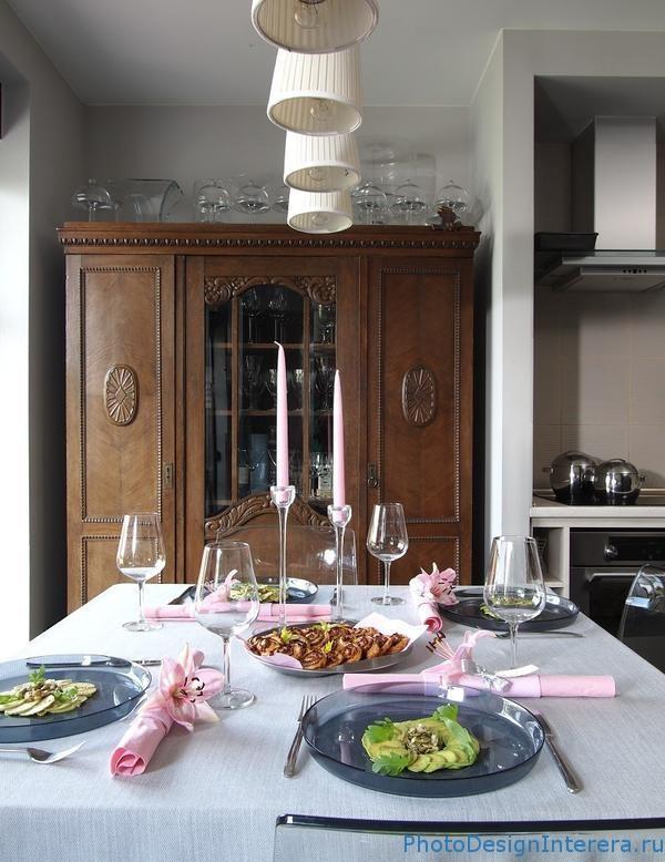 Красивый интерьер кухни со столовой фото