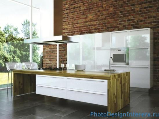 Дизайн стен на кухне фото. Стиль кирпичной кладки