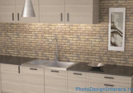 Дизайн стен на кухне фото. Кирпичная кладка стен