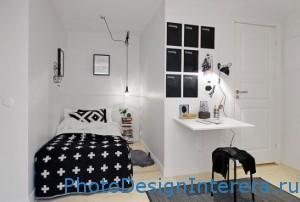 Компактный дизайн маленькой спальни в белом цвете фото