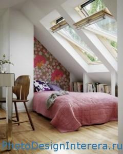 Красивый дизайн маленькой спальни на чердаке фото