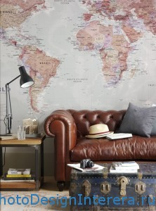 Дизайн обоев в гостиной для путешественников фото