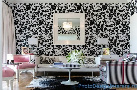 Черно-белые обои для гостиной с цветами фото