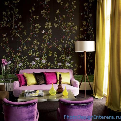 Дизайн гостиной в современном ретро стиле фото