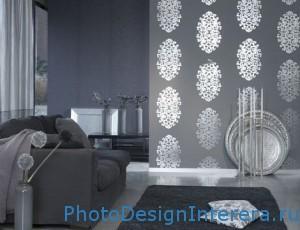 Дизайн современной гостиной с серебристыми оттенками фото