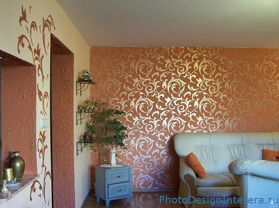 Дизайн интерьера гостиной с обоями фото