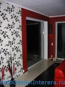 Дизайн стильной гостиной с обоями фото