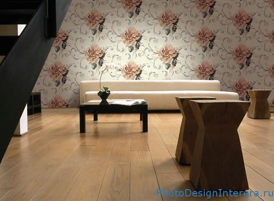 Дизайн обоев в гостиной фото