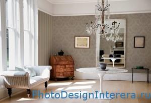 Дизайн гостиной с хрустальной люстрой фото