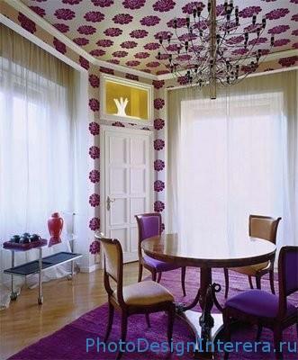 Дизайн обоев на потолке в гостиной фото
