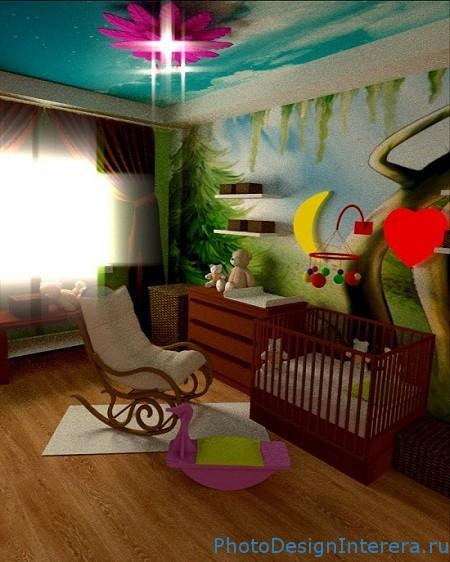 Дизайн детской комнаты с обоями фото
