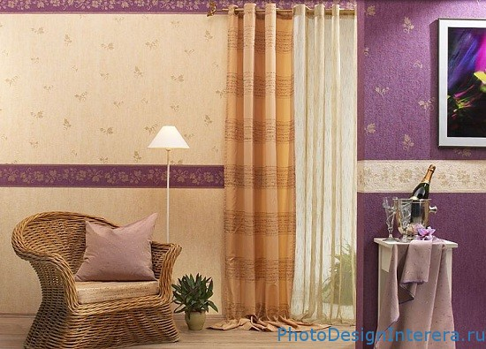 Дизайн гостиной с обоями фото