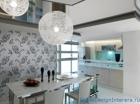 Дизайн кухни с обоями фото