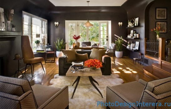 Дизайн интерьера гостиной в коричневом цвете фото