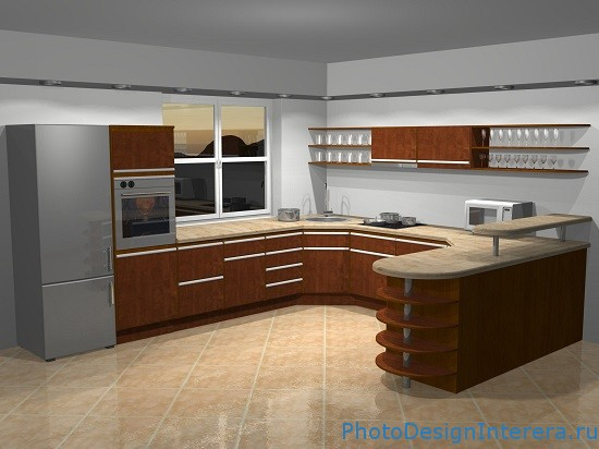 Дизайн интерьера кухни с плиткой фото