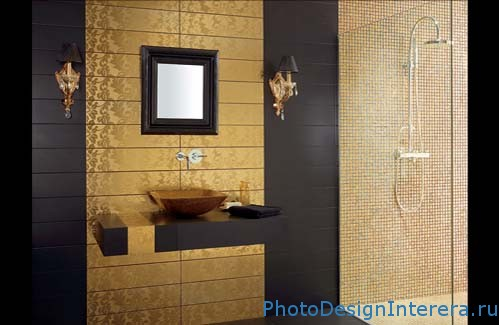 Плитка в дизайне интерьера ванной комнаты фото