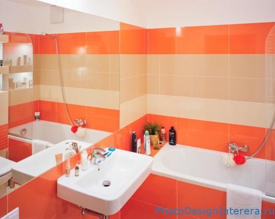 Розовая и красная Плитка в дизайне интерьера ванной комнаты фото