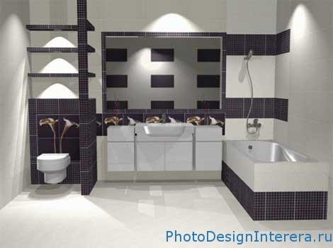 Современная и стильная Плитка в дизайне интерьера ванной комнаты фото