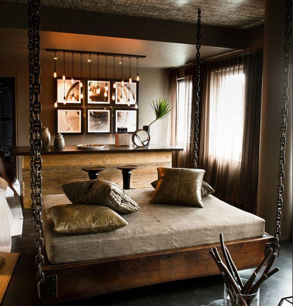 Подвесная кровать в интерьере:необычное решение