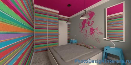 Дизайн интерьера спальни в яркую полоску фото
