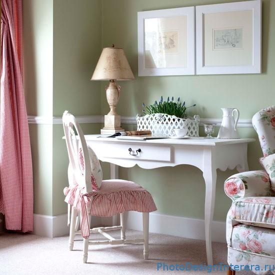 Дизайн интерьера домашнего романтического офиса фото