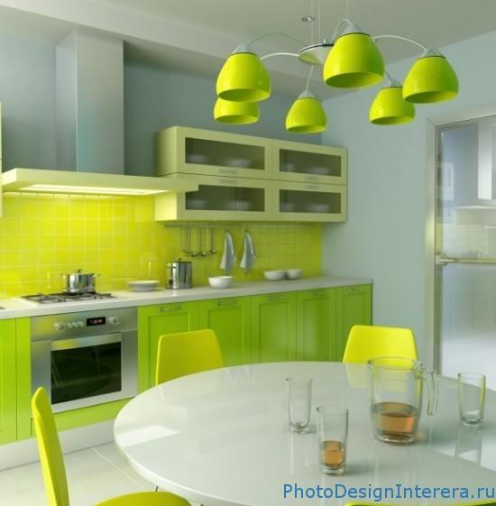 Дизайн салатовой кухни фото