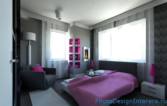 Серый цвет в спальне фото