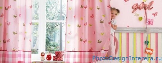 Дизайн интерьера детской комнаты со шторами фото