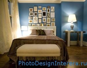 Синий цвет в дизайне интерьера спальни фото