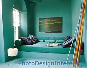 Бирюзовый цвет в дизайне интерьера спальни фото