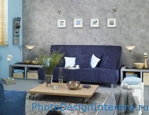 Фиолетовый цвет в дизайне интерьера гостиной фото
