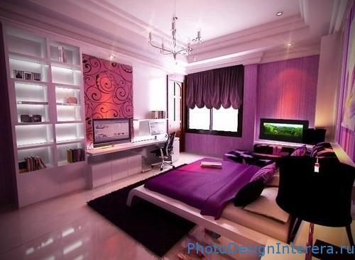Сиреневый цвет спальни фото