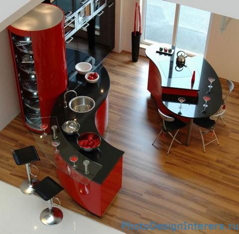 Барная стойка на кухне красного цвета фото